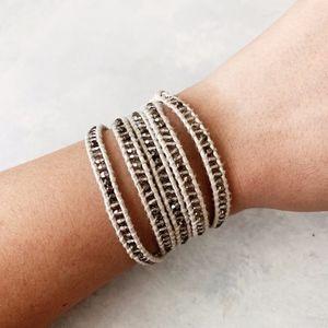 Chan Luu Crystal on White Leather Wrap Bracelet